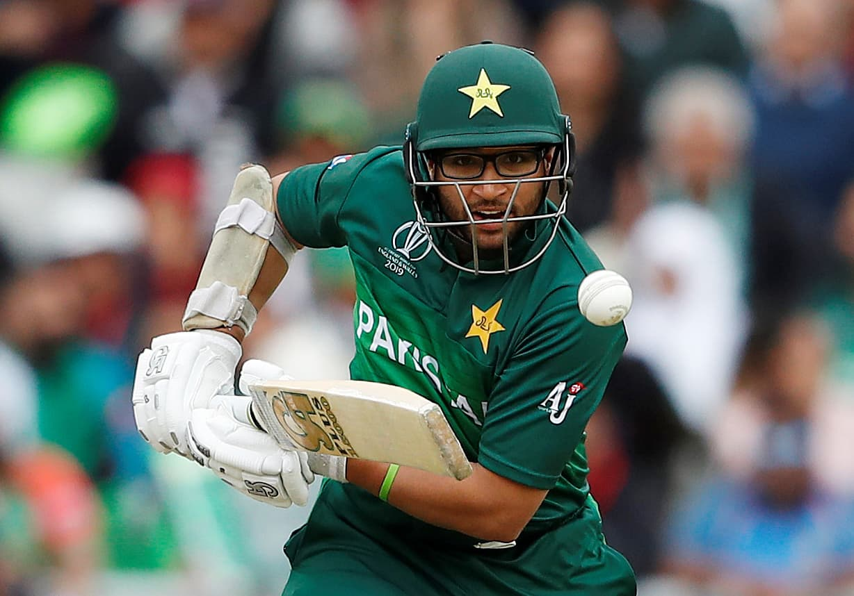 Imamul Haq in action as the Pakistan innings begins. ─ Reuters