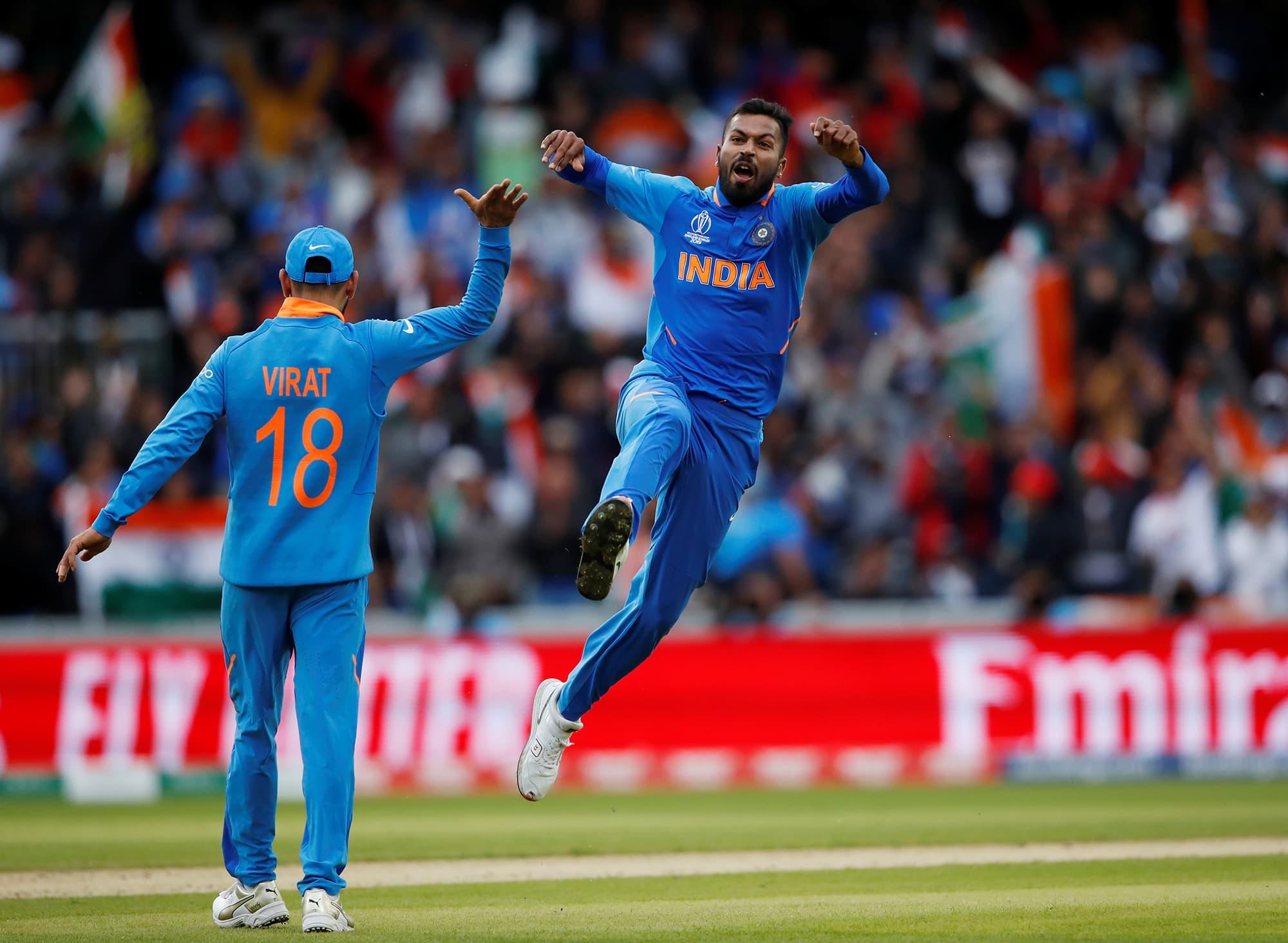Hardik Pandya celebrates taking the wicket of Shoaib Malik. ─ Reuters