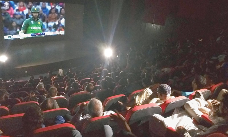 A good crowd turned up at the Arts Council on Sunday to watch the Pakistan and India ICC World Cup clash on the big screen.—Photo by writer