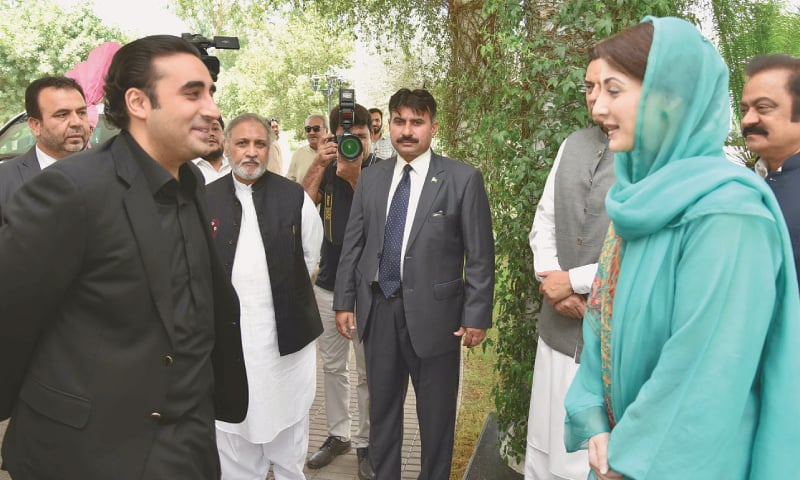 BILAWAL Bhutto-Zardari exchanges pleasantries with Maryam Nawaz upon arrival at Jati Umra on Sunday. —Aun Jafri / White Star