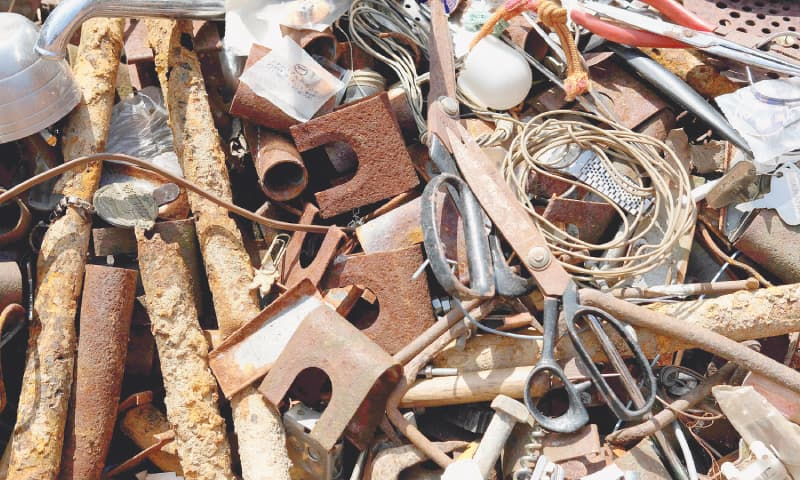 Separated metal items at a waste centre in the town of Kamikatsu, Tokushima prefecture. — AFP