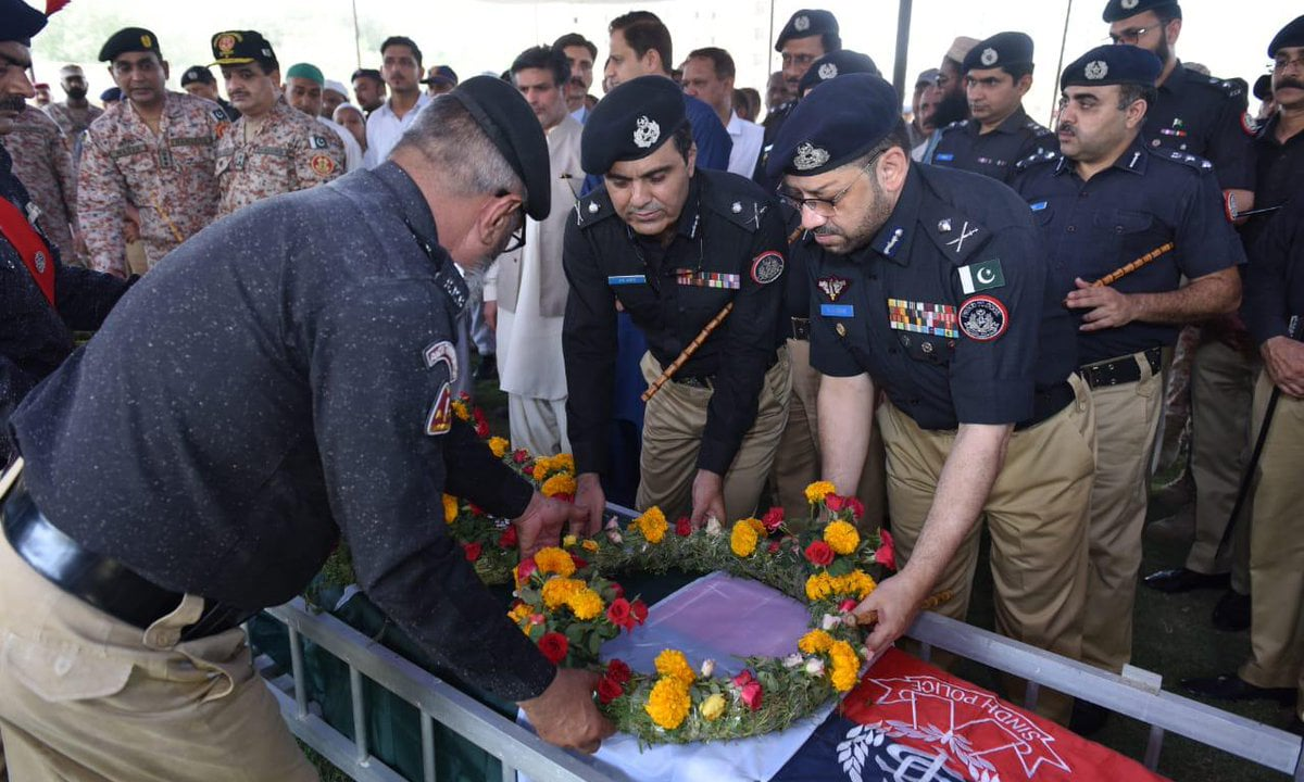 The funeral prayers for the two policemen were held at Police Headquarter, Garden South. — Photo courtesy Sindh police