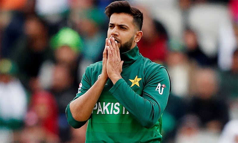 Imad Wasim reacts after bowling to the Indian side. ─ Reuters/File
