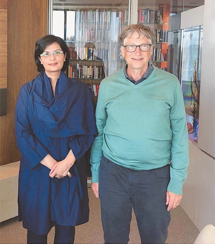 WASHINGTON: Special Assistant to the Prime Minister on Social Protection and Poverty Alleviation Dr Sania Nishtar is pictured with Bill Gates at the Gates Foundation headquarters here. — APP