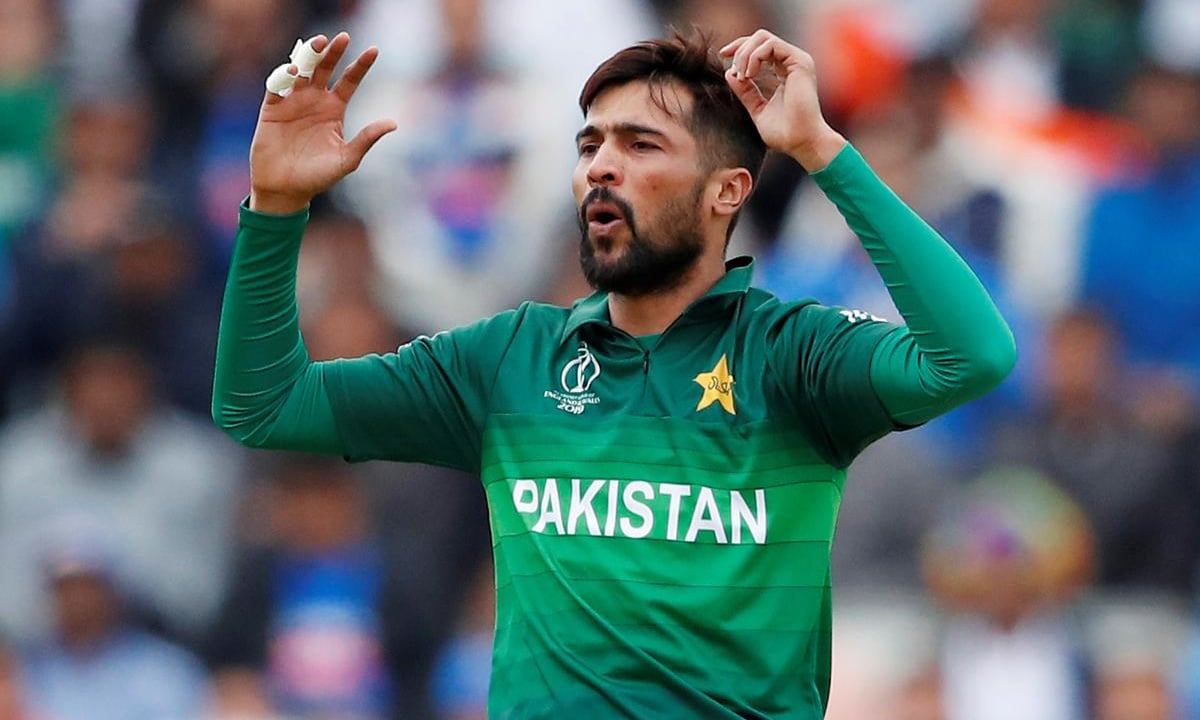 Mohammad Amir reacts during the Cricket World Cup match between India and Pakistan at Old Trafford in Manchester, England, on June 16. — Reuters