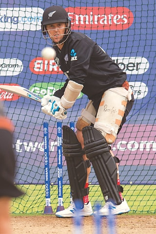NEW ZEALAND'S Trent Boult bats in the nets during  a practice session on Tuesday.—AFP