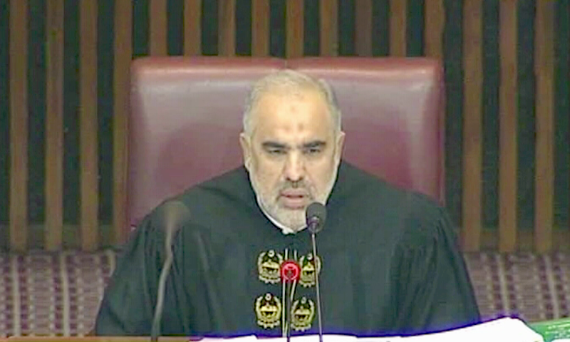 National Assembly Speaker Asad Qaiser presides over Wednesday's session. ─ DawnNewsTV