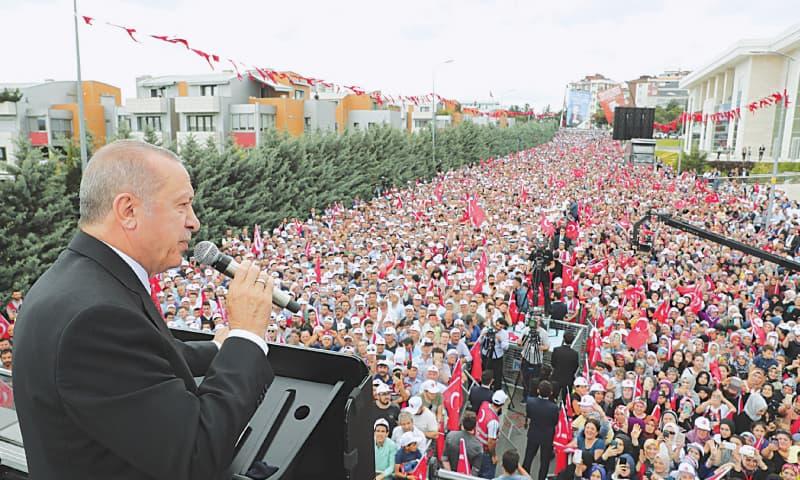 ISTANBUL: Turkish President Recep Tayyip Erdogan speaking at an election rally on Wednesday. — AP