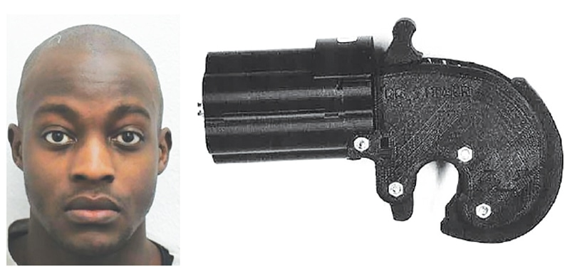 LONDON: (Left) Tendai Muswere, who was convicted on Wednesday of manufacturing a firearm using a 3D printer. The other picture shows the 3D printed gun found by police.—AFP