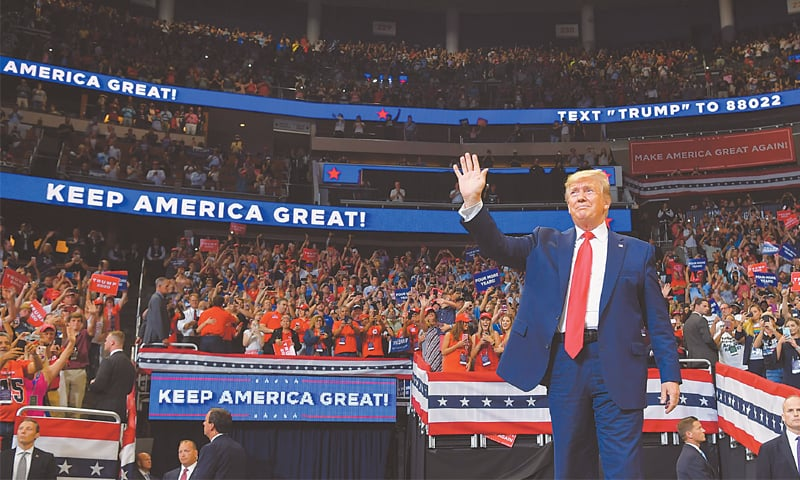 Orlando (Florida, US): President Donald Trump arrives at the Amway Centre to officially launch his 2020 campaign.—AFP