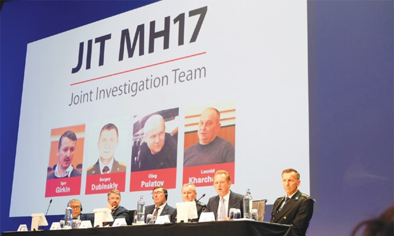 Nieuwegein (Netherlands): Investigators who probed the downing of the Malaysian airliner appear at a press conference on Wednesday. — AP