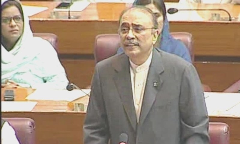 Following the issuance of his production order, former president Asif Ali Zardari attended the ongoing session of the National Assembly on Thursday. — DawnNewsTV