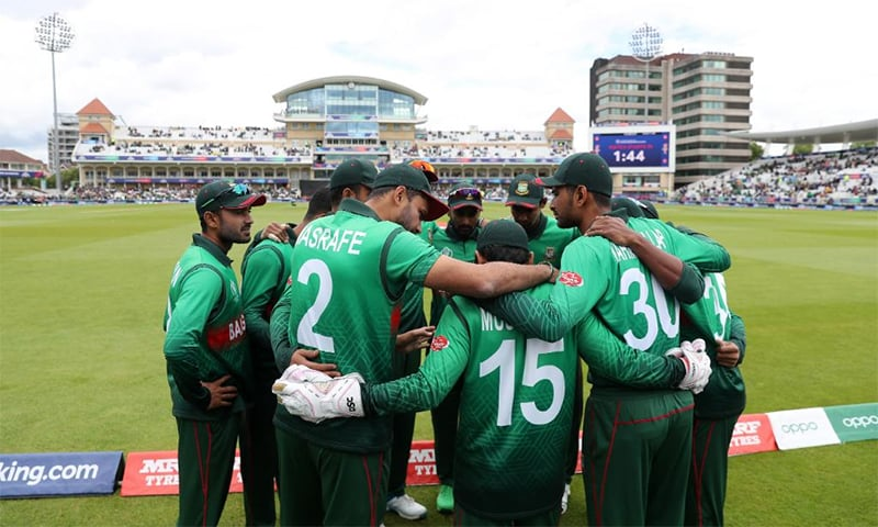 Bangladesh team huddles before match against Australia begins at Trent Bridge. — Photo courtesy Cricket World Cup Twitter Account