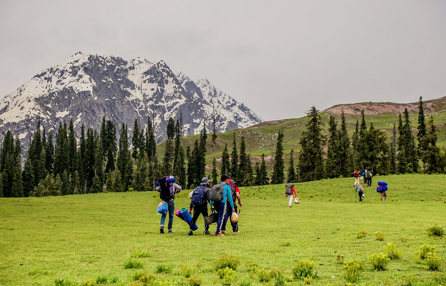 Trekkers walk through Chinaitshing meadows towards the base camp of Izmis lake. ─ Photo by author