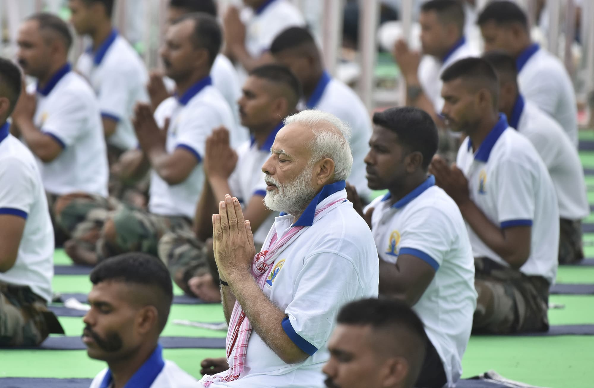 Indian Prime Minister Narendra Modi performs yoga on International Yoga Day in Ranchi, India on June 21. — Reuters