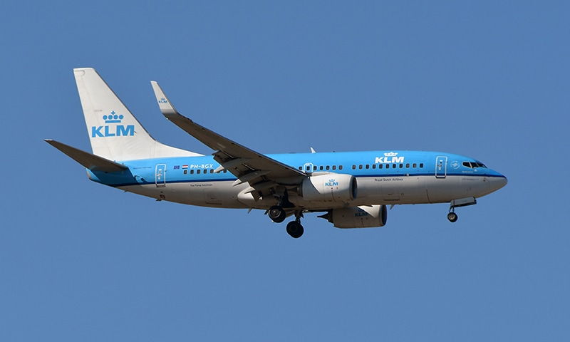 In this file photo taken on August 27, 2018, a Boeing 737 Next Gen of KLM flies above Toulouse, southern France. - KLM to halt flights over Strait of Hormuz after drone downing according to the company on June 21. — AFP
