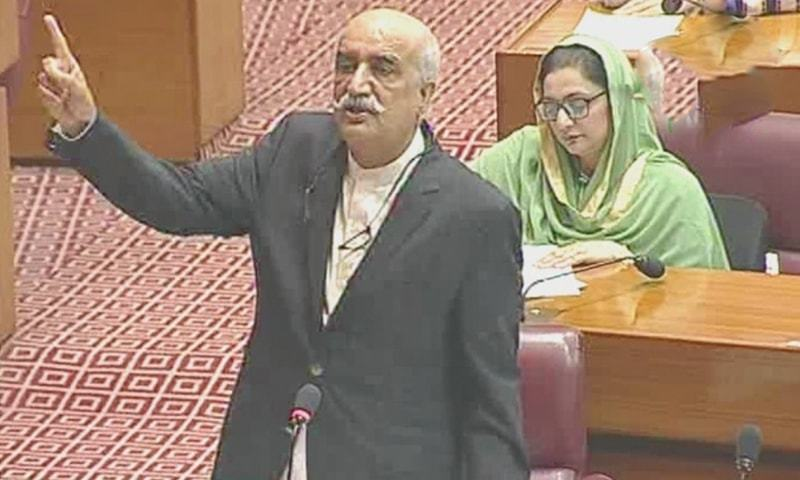 PPP stalwart Khursheed Shah speaks in the National Assembly. — DawnNewsTV screengrab