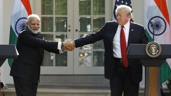 US President Donald Trump greets Indian Prime Minister Narendra Modi during their joint news conference in the Rose Garden of the White House in Washington in 2017. — Reuters