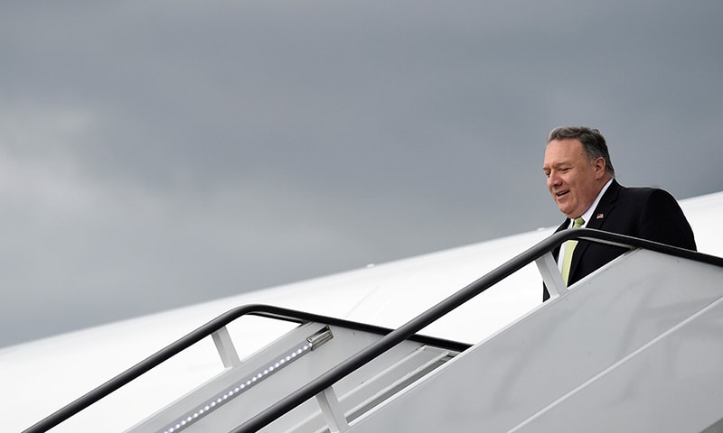 This file photo shows US Secretary of State Mike Pompeo arriving at Stansted Airport near London on June 3. — Reuters