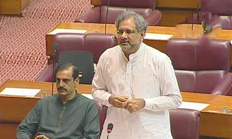 Former premier Shahid Khaqan Abbasi speaks in the National Assembly. — DawnNewsTV screengrab