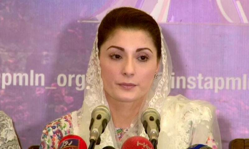 Former premier's daughter and a vice president of PML-N Maryam Nawaz speaks to the media in Lahore. — DawnNewsTV screengrab
