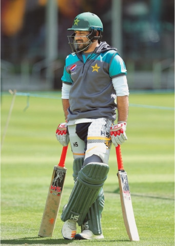 LONDON: Pakistan captain Sarfraz Ahmed looks on during a net practice session at Lords on Saturday, ahead of their match against South Africa.—AFP