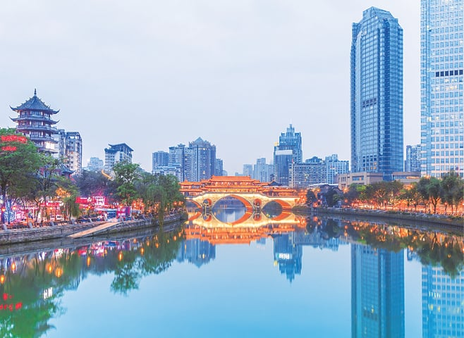 A view of Chengdu, capital of the Sichuan province in China. From a key trading centre 2,000 years ago on the southern silk route, the city is now the channel for logistics and economic exchange along the overland Eurasian Continental Bridge
