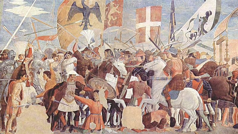 A fresco depicting the Battle of Nineveh fought between the armies of Heraclius and Khosrow Parvez. It was painted by the Italian artist Pierro Della Francesca circa 1452 AD | Wikimedia Commons