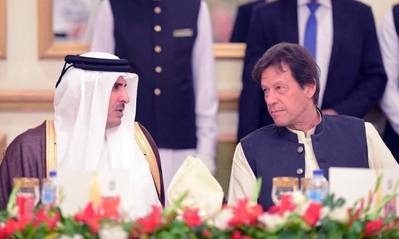 Qatar Emir Sheikh Tamim bin Hamad Al Thani with Prime Minister Imran Khan. — Govt of Pakistan via Twitter