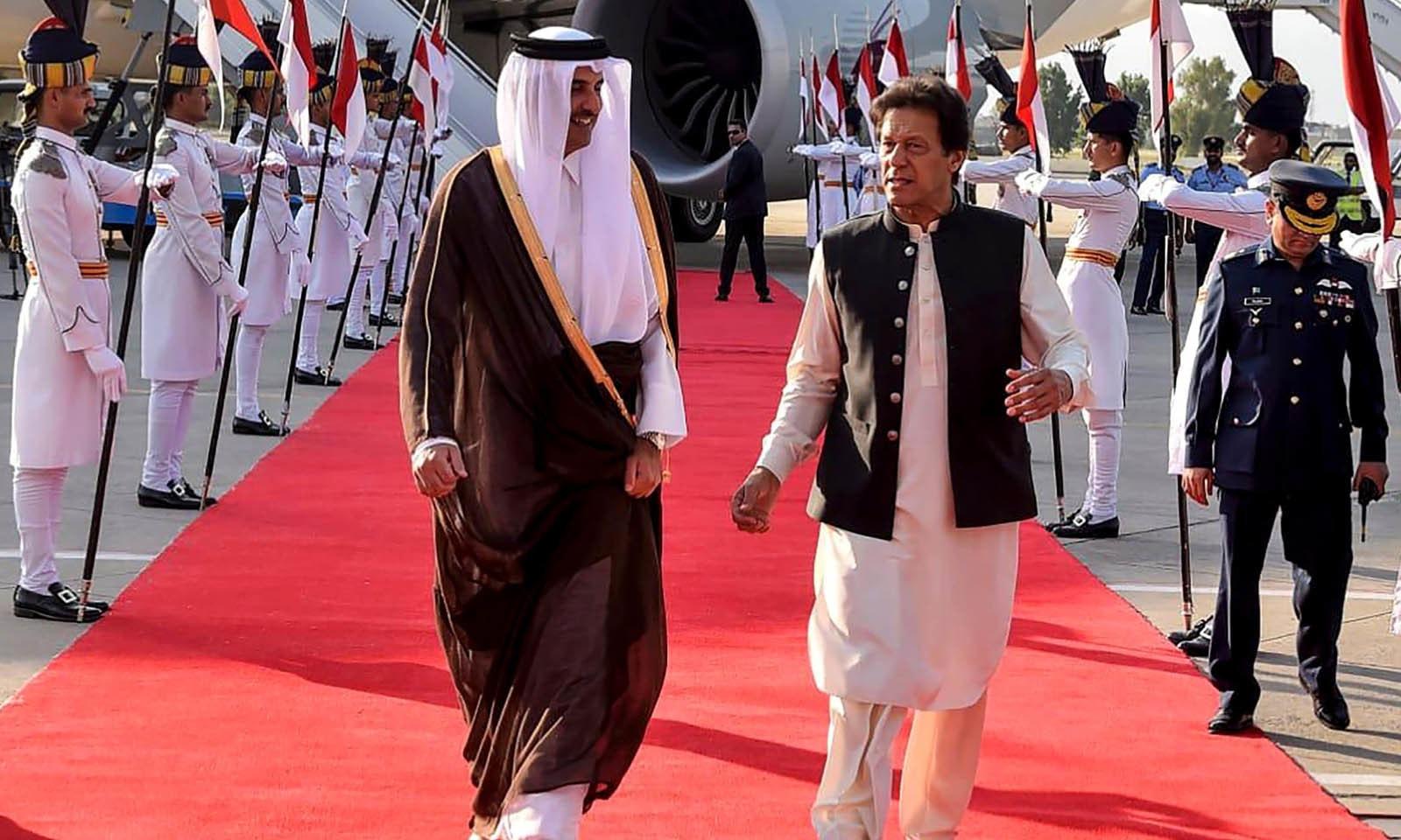 قطر کے امیر شیخ تمیم بن حمد الثانی 2 روزہ دورے پر پاکستان پہنچے تھے —فوٹو: اے ایف پی