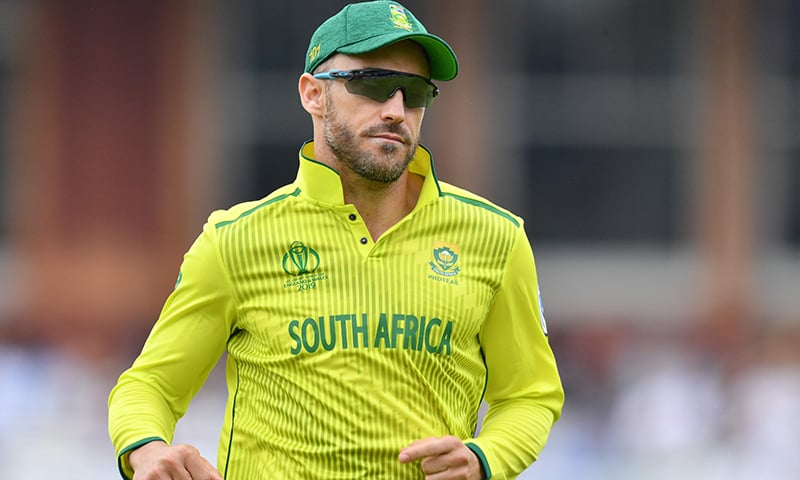 South Africa's captain Faf du Plessis looks on during the 2019 Cricket World Cup group stage match between Pakistan and South Africa at Lord's Cricket Ground  in London on June 23. — AFP