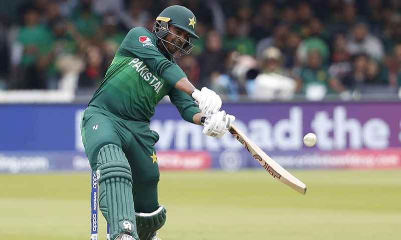 Haris Sohail plays a shot off the bowling of South Africa's Lungi Ngidi. — AP