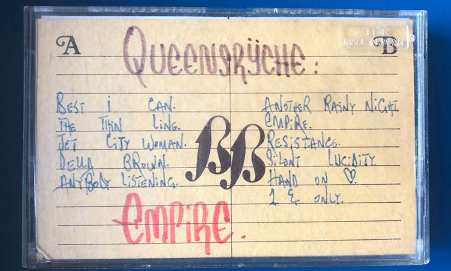 A cassette from BackBeat with Queensrÿche's album Empire.—Photo by author