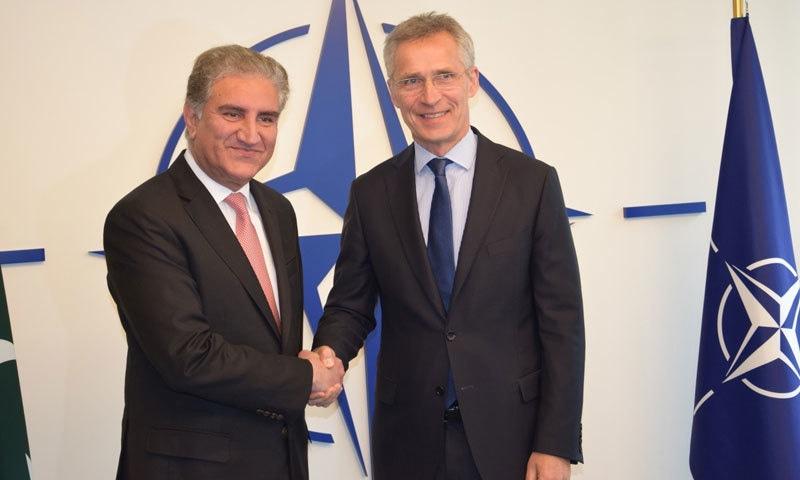وزیرخارجہ نے برسلز میں جنرل سیکریٹری نیٹو سے ملاقات کی—فوٹو:شاہ محمود قریشی فیس بک