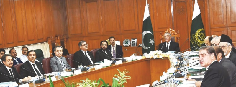 ISLAMABAD: Chief Justice of Pakistan Asif Saeed Khosa presides over a meeting of the National Judicial Policy Making Committee on Monday.—INP