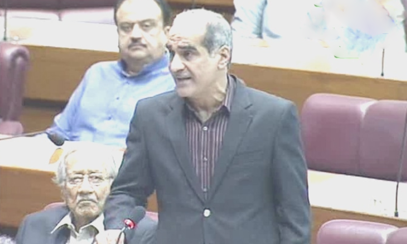 Khawaja Saad Rafique speaks on the floor of National Assembly. — DawnNewsTV screengrab