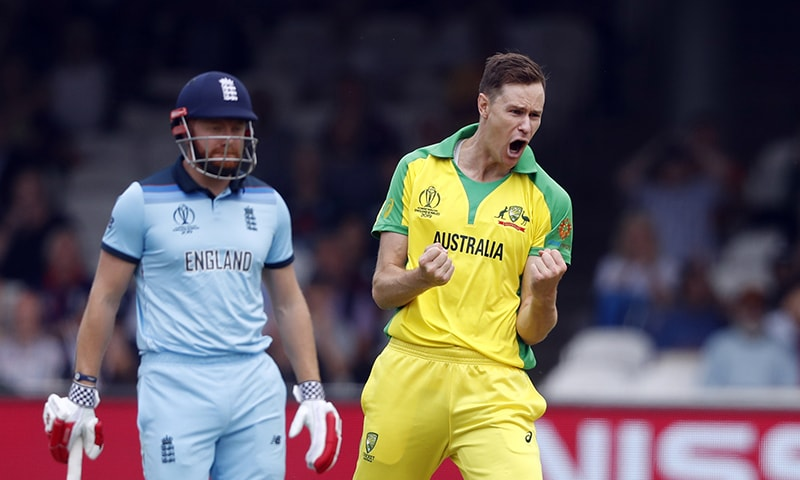 Australia's Jason Behrendorff celebrates after taking the wicket of England's James Vince clean bowled during their Cricket World Cup match between England and Australia at Lord's cricket ground in London,  June 25. — AP