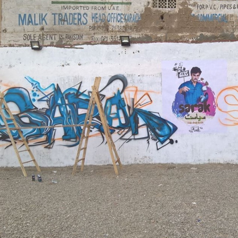 A work in progress; a wall he got commissioned for a chai dhaba called Sarak Siyasat