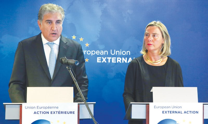 Federica Mogherini, the European Union's High Representative for Foreign Affairs, and Foreign Minister Shah Mehmood Qureshi address a press conference on Tuesday.—AFP