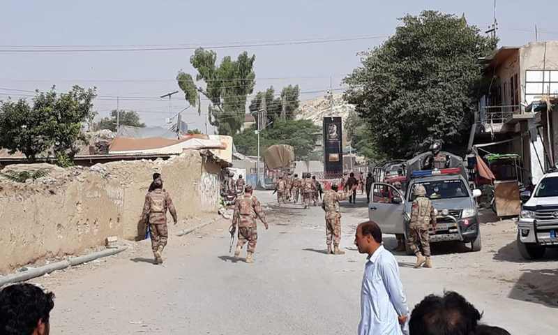 Security forces at the site of the attack. — DawnNewsTV