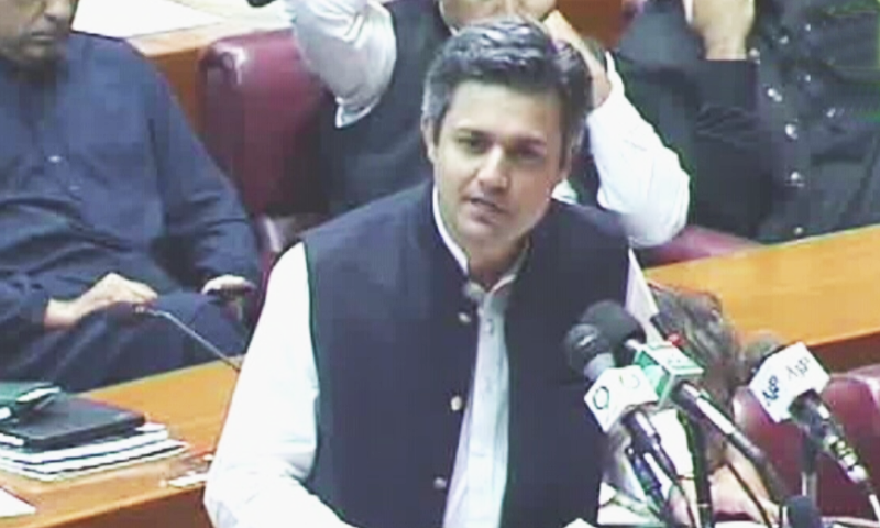 State Minister for Revenue Hammad Azhar winds up budget debate in National Assembly on Tuesday. — DawnNewsTV
