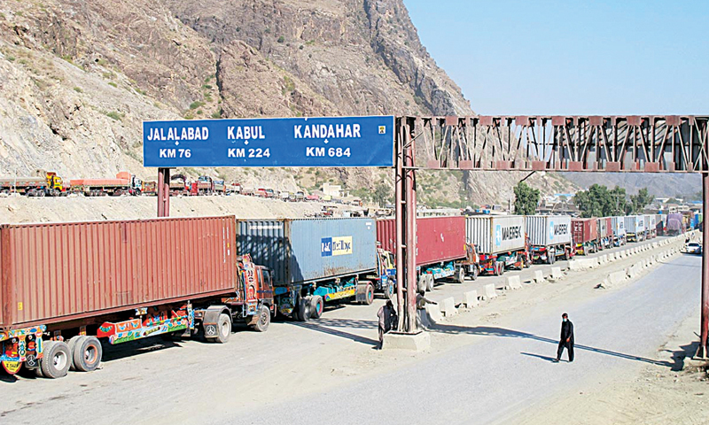 A large number of loaded vehicles were seen stranded at the custom terminal. — Dawn/File