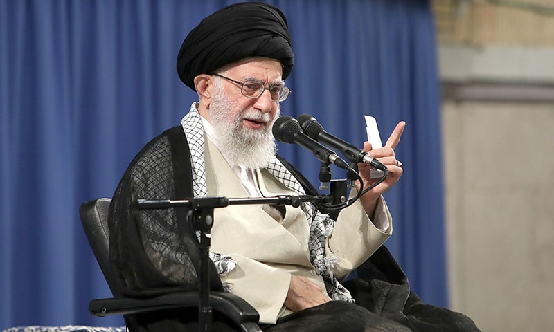 A handout picture provided by the office of Iran's Supreme Leader Ayatollah Ali Khamenei on June 26 shows him delivering a speech during a gathering of the judiciary in the Islamic republic's capital Tehran. — AFP