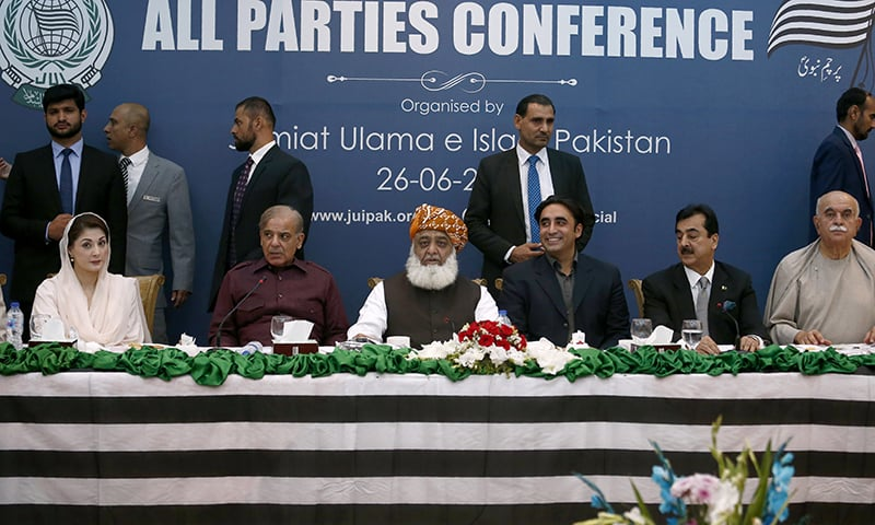 Opposition party leaders (from left): PML-N's Maryam Nawaz and Shehbaz Sharif, JUI-F chief Maulana Fazlur Rehman, PPP's Bilawal Bhutto Zardari and Yousuf Raza Gillani, and Pakhtunkhwa Milli Awami Party (PkMAP) chief Mahmood Khan Achakzai attend the MPC. ─ AP