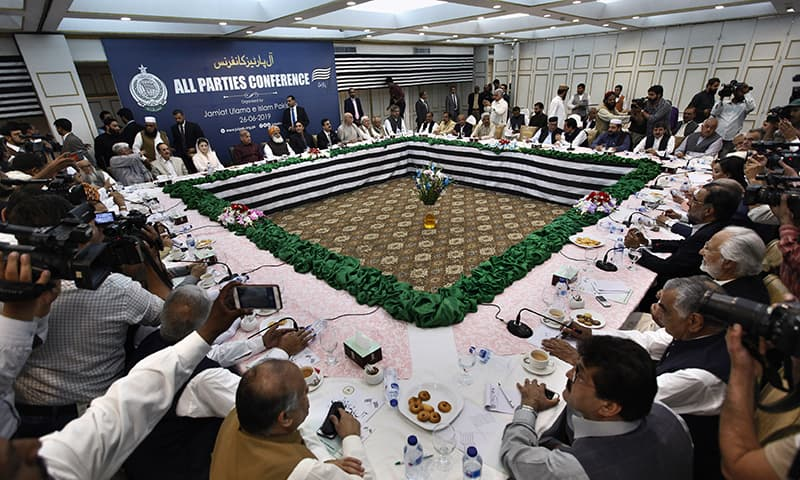 Opposition party leaders attend the MPC in Islamabad. ─ AP