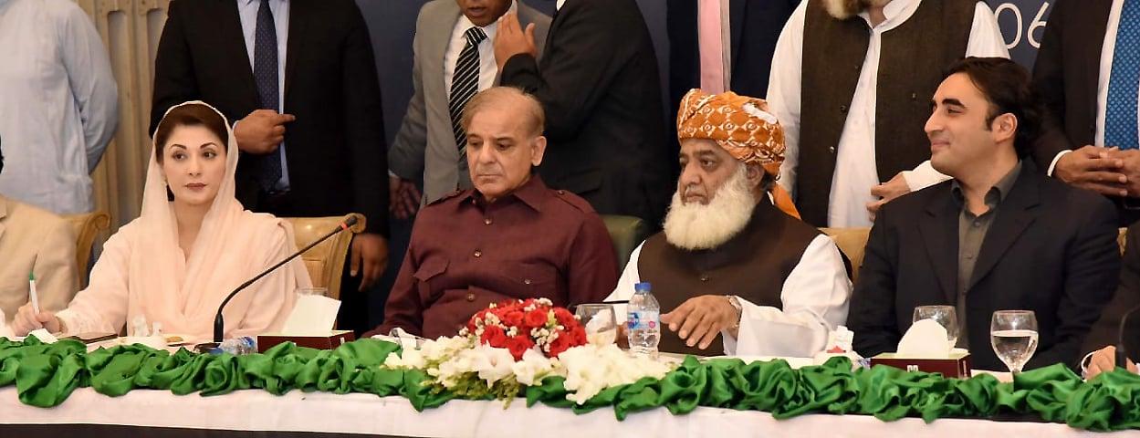 (L-R: PML-N vice president Maryam Nawaz, PML-N President Shehbaz Sharif, JUI-F chief Fazlur Rehman and PPP Chairman Bilawal Bhutto Zardari. ─ Photo courtesy Adnan Sheikh