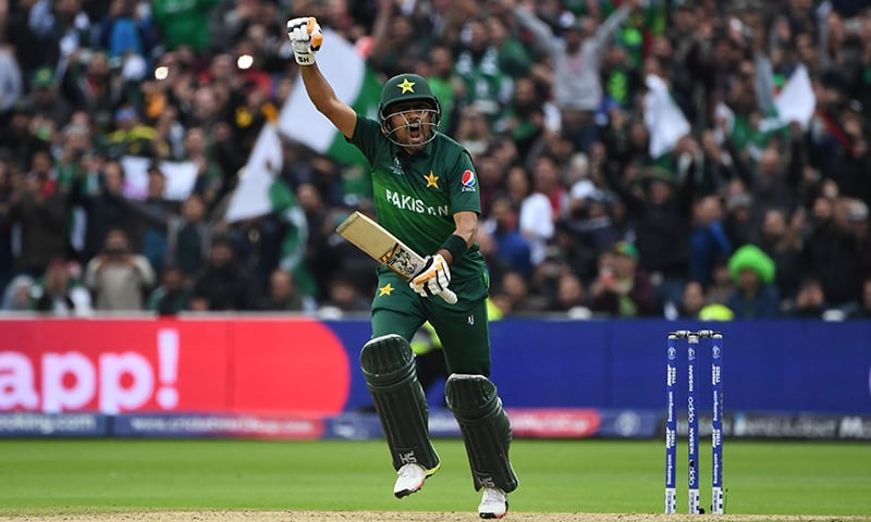 Pakistan's Babar Azam celebrates after scoring a century. — AFP