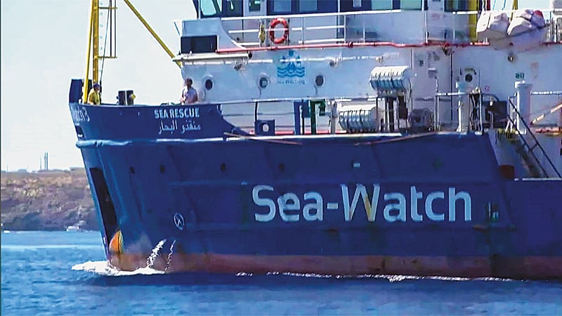 A ship belonging to an NGO heads towards Italy's Lampedusa island.—AFP