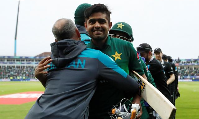 Babar Azam celebrates after the match against New Zealand on Wednesday. — Reuters