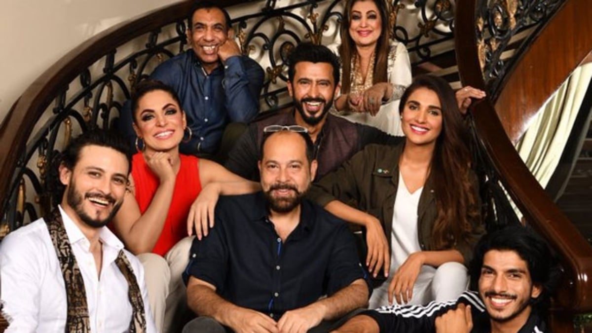 The cast of Baaji pictured with director, Saqib Malik